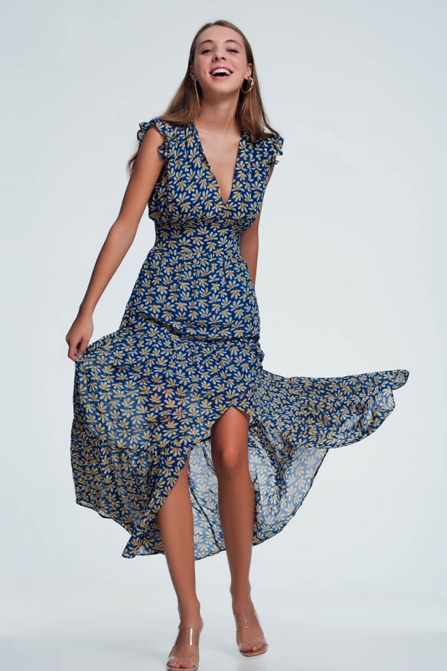 Electric blue frill layered maxi dress in yellow floral print