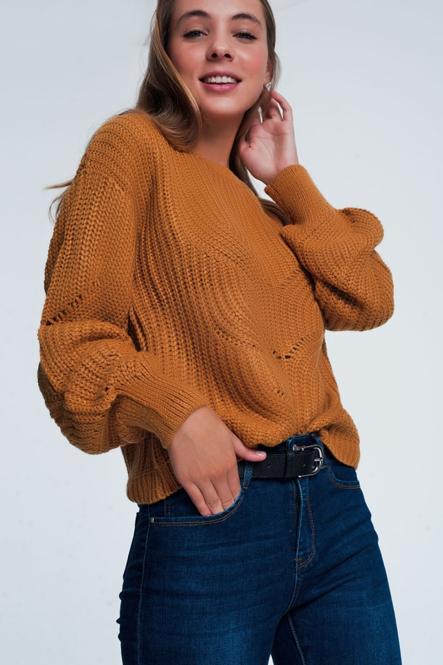 Woven camel sweatshirt with decoration