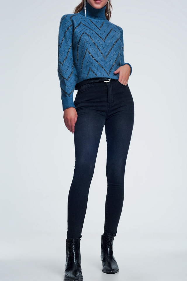 High waist black jeans in a light wash