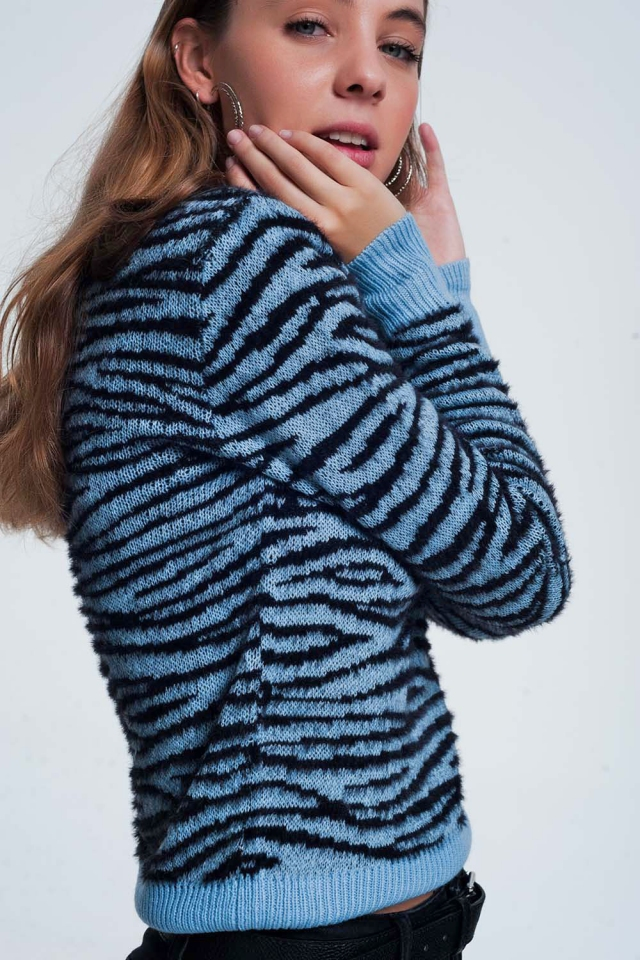 Blue sweatshirt in all over animal tiger print