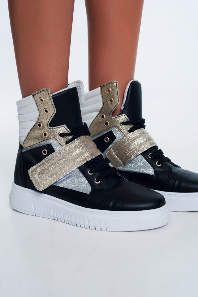 Hi-top sneakers in gold