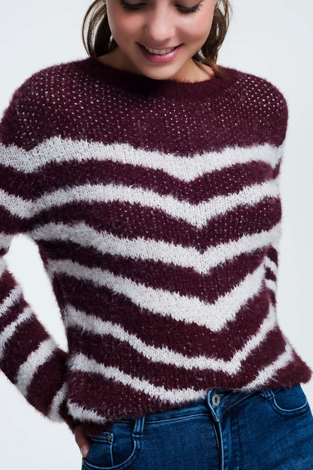 Fluffy Stripe Sweater in maroon