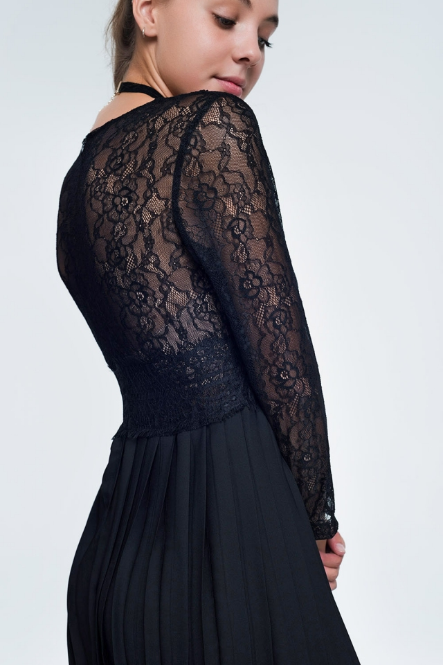 Black long sleeve lace bodice midi dress with pleated skirt