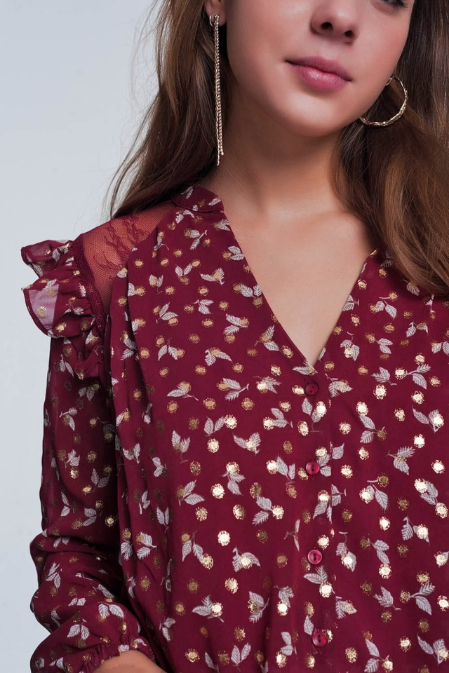 Print ruffle shoulder maroon shirt