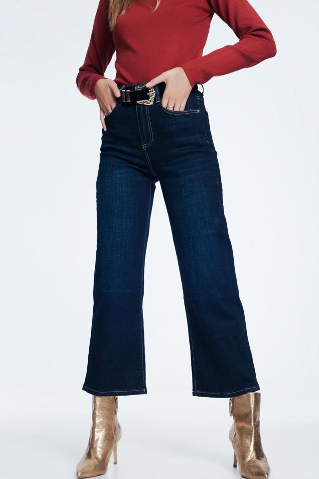 Dark blue mom jeans