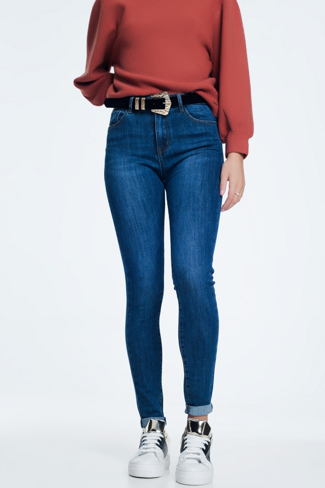 Push up dark wash jeans