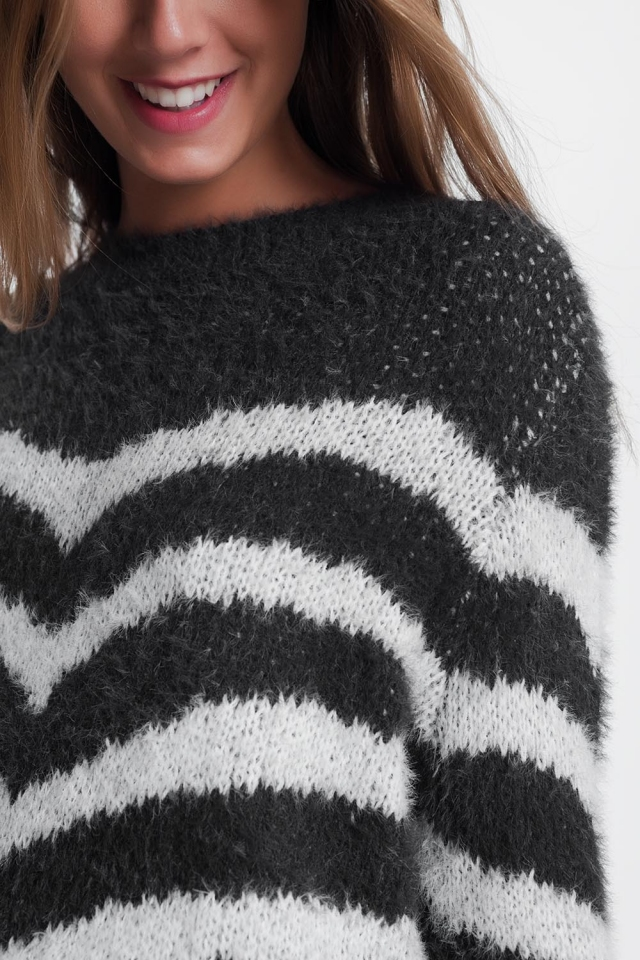 Fluffy Stripe Sweater in grey