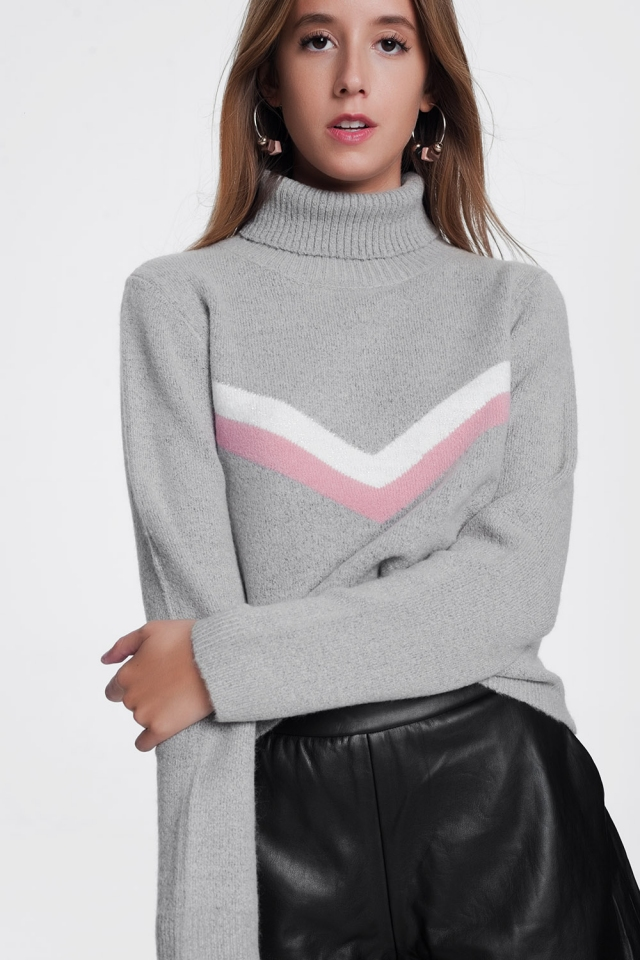Sweater with chevron detail in grey