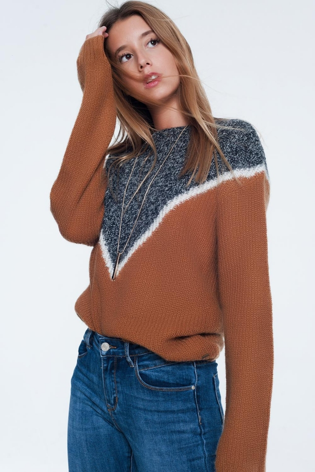 chevron color block sweater in camel