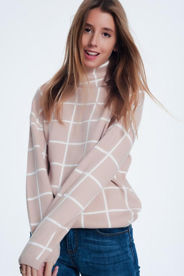 Checkered beige turtleneck sweater