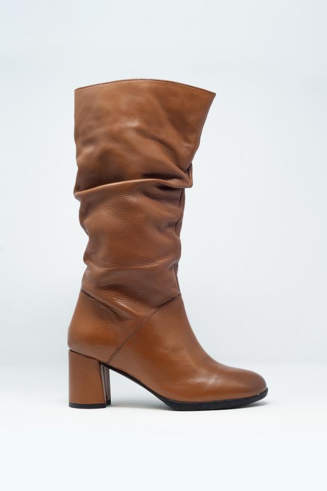 Bruine Nonchalante laarzen tot de kuit