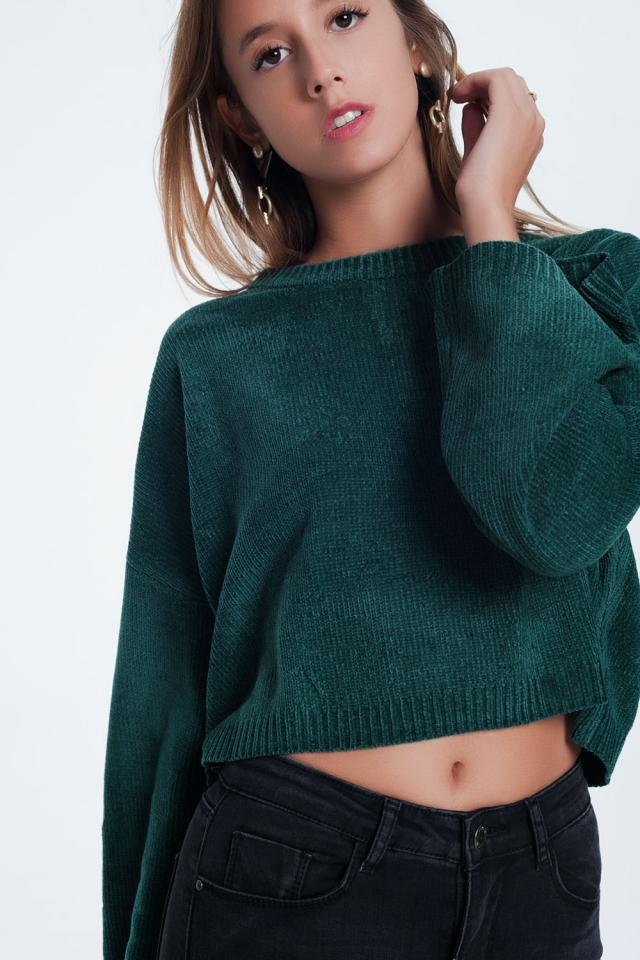Flare sleeve sweater in green