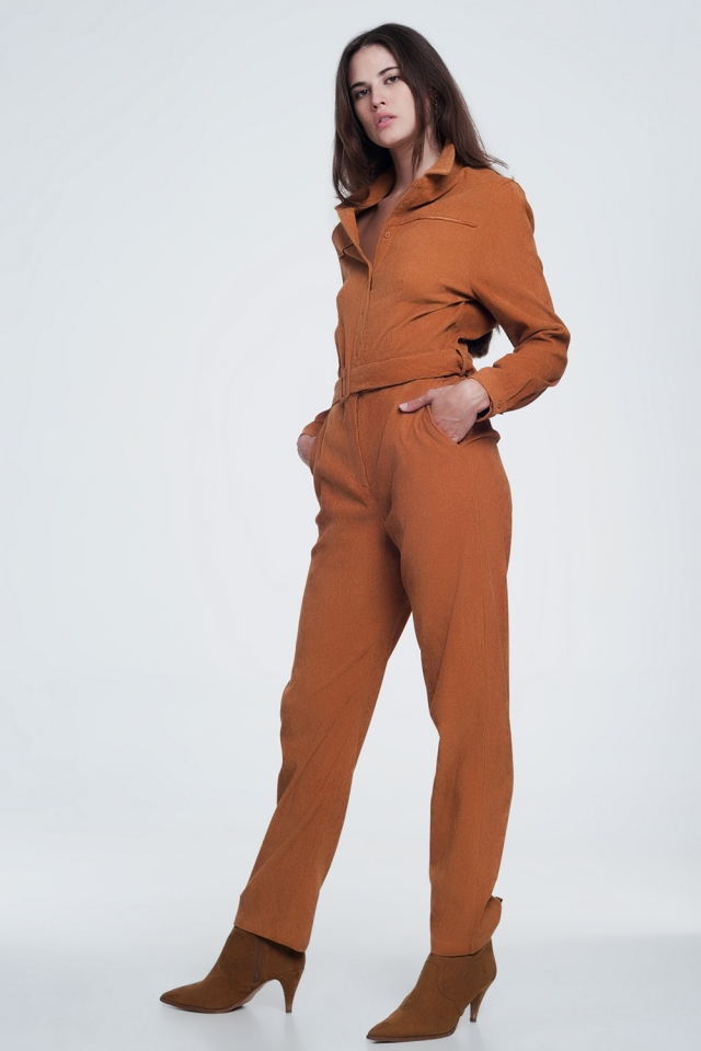 Cord utility jumpsuit in camel