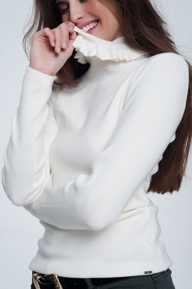 Cream turtleneck sweatshirt