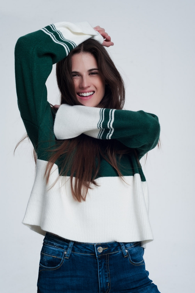 Green turtleneck sweatshirt with stripes in cream