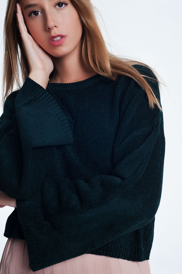 Flare sleeve sweater in black