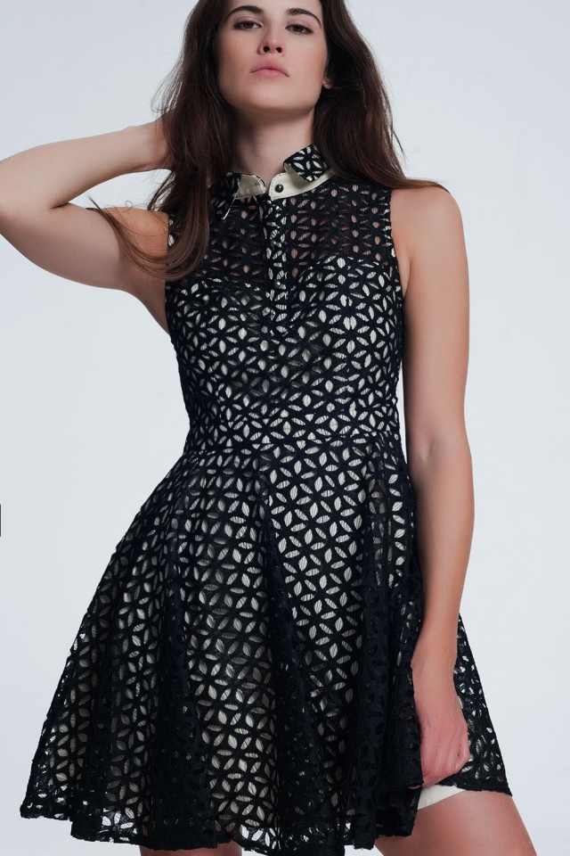 brocade dress in black