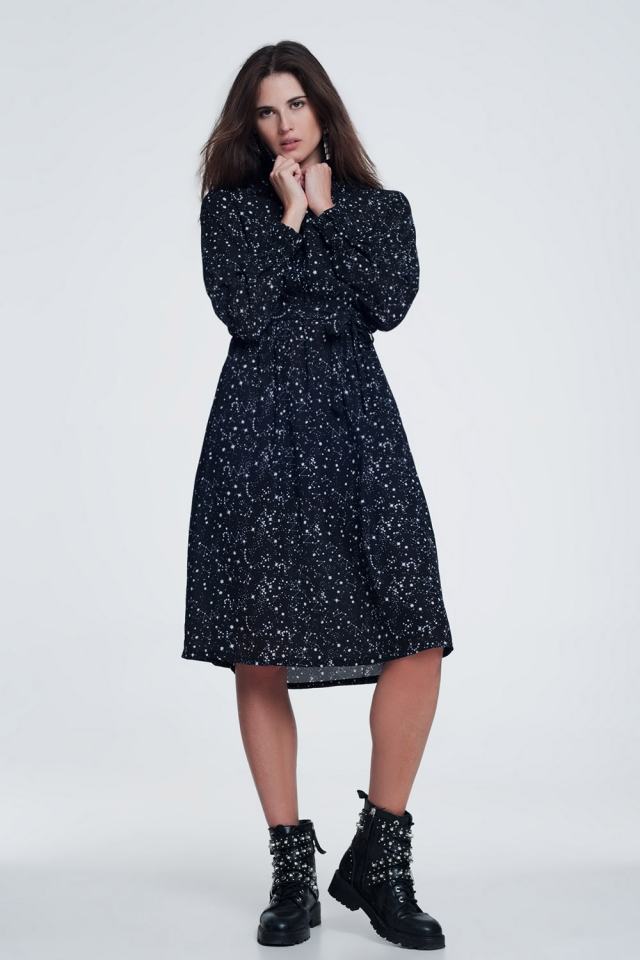 midi dress with star print in black