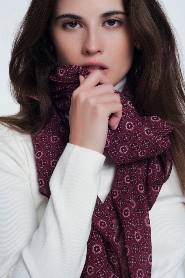 Dark brown scarf with print