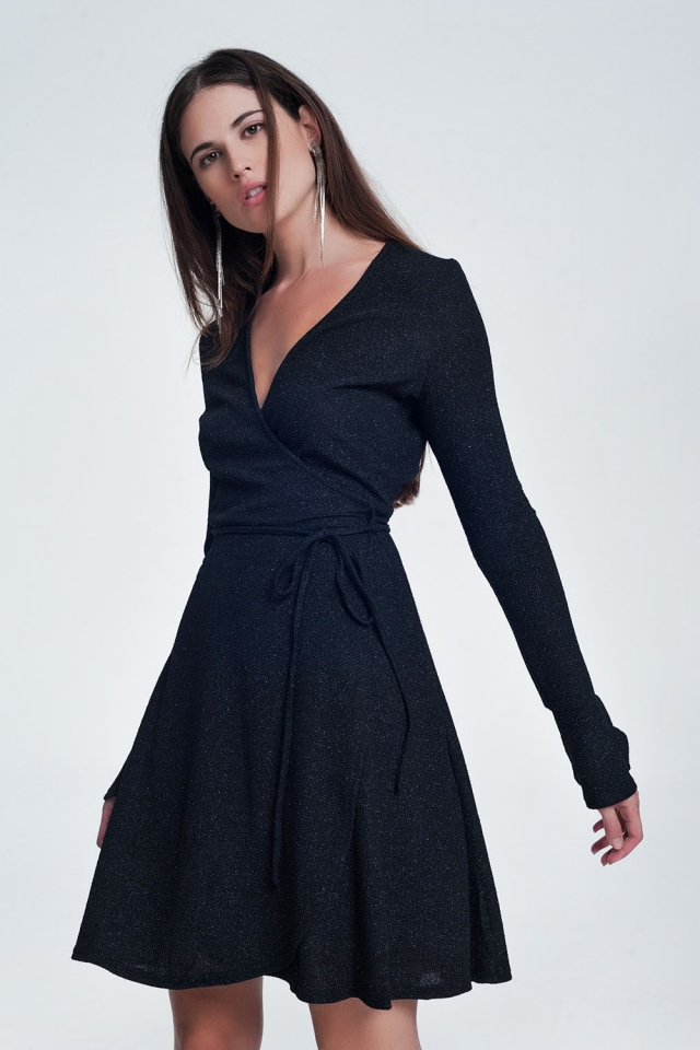 Black mini dress with v-neck