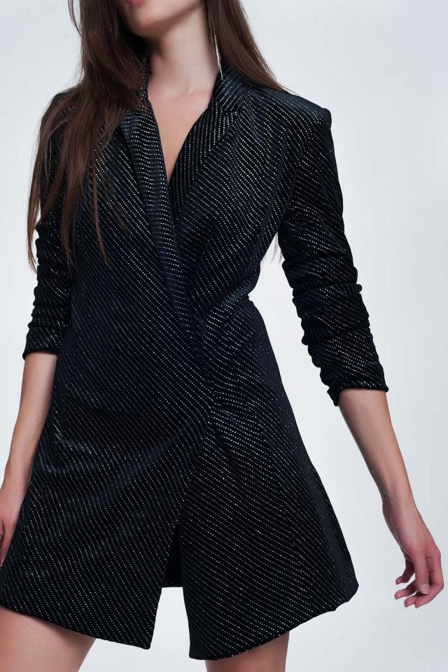 Mini dress in black with shiny print