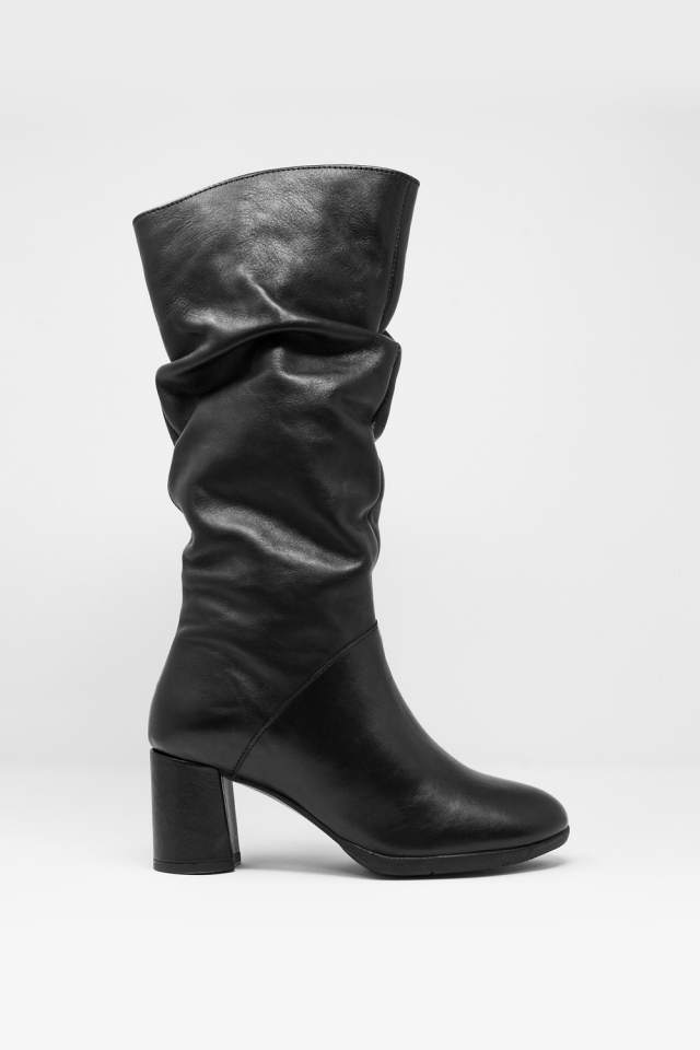 slouch calf length boot in black