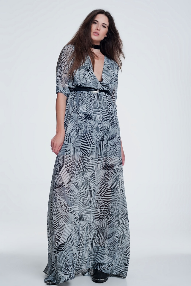 Long dress with print in gray