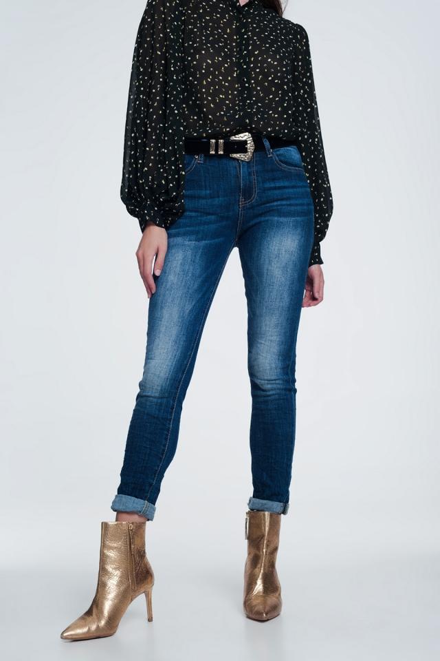 high waisted skinny jeans in dark stonewash blue