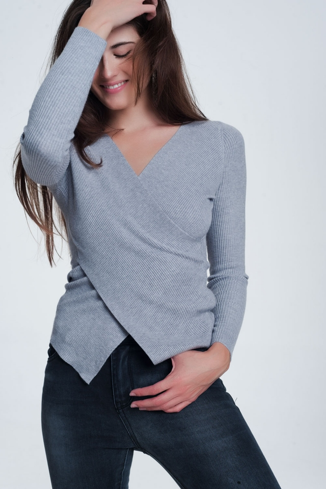 Gray ribbed wrap sweater with v-neck