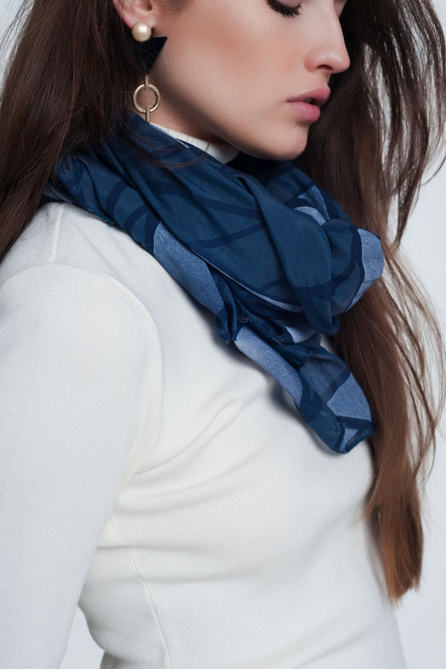 Blue scarf with abstract print