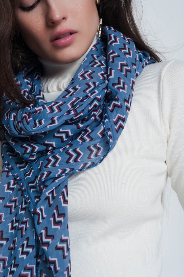 Blue colored scarf with print