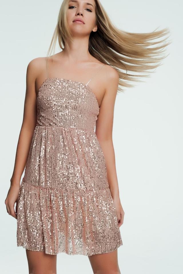 Golden mini dress with glitter