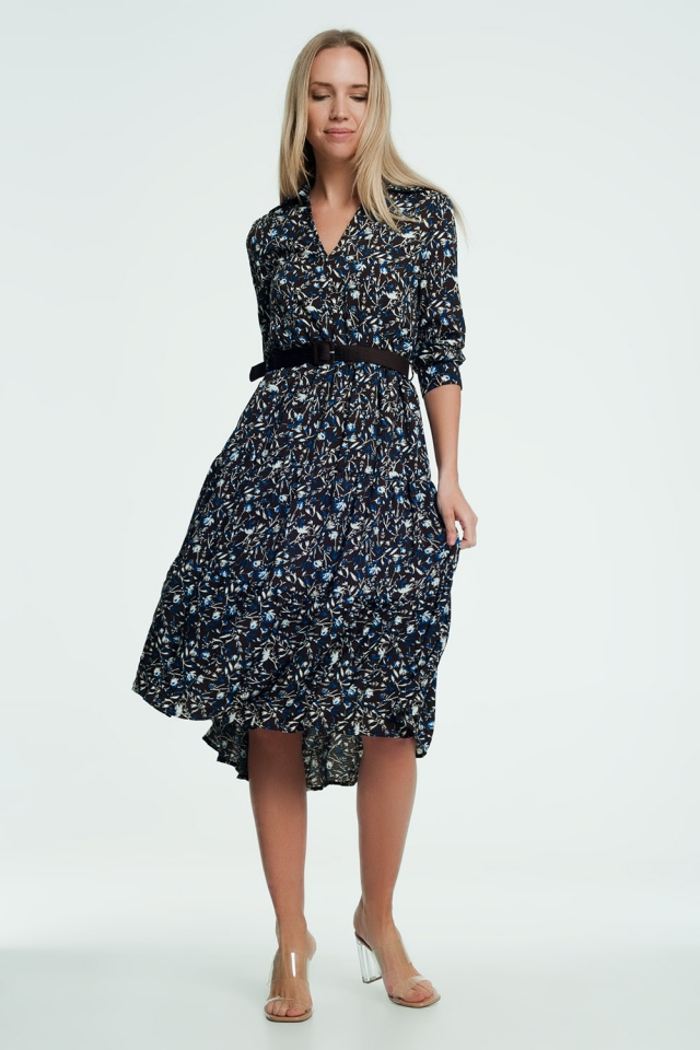Long dress with floral print in brown