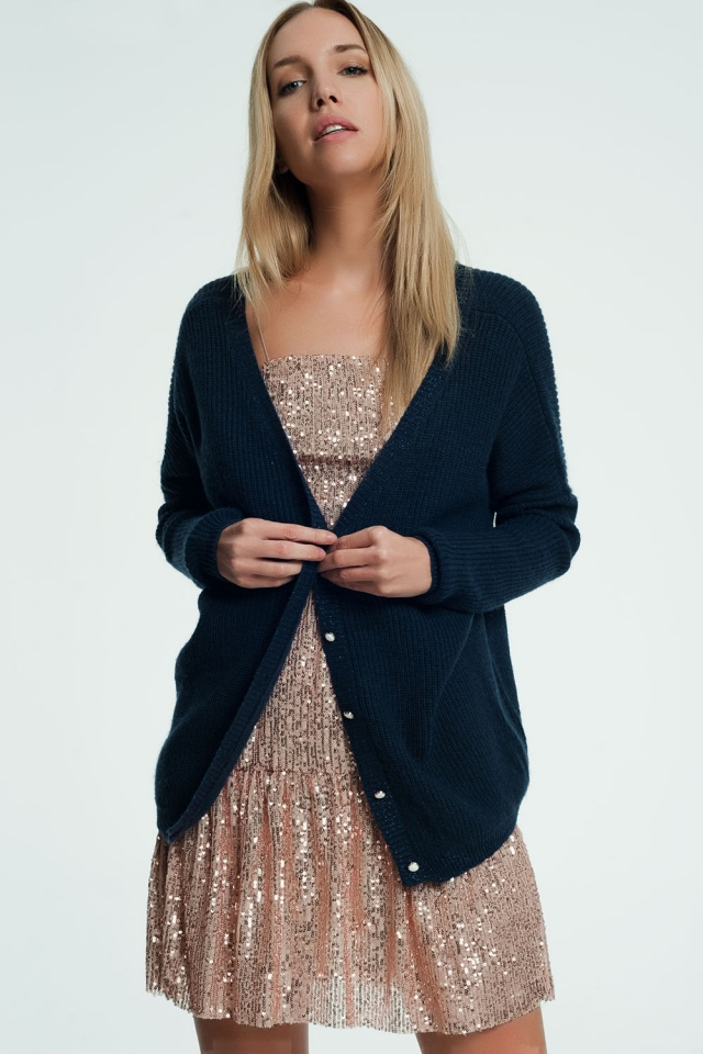 Navy cardigan with v-neck and buttons