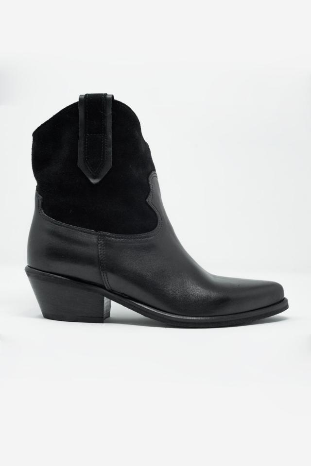 Schwarze Western-Stiefel mit mittelhohem Absatz