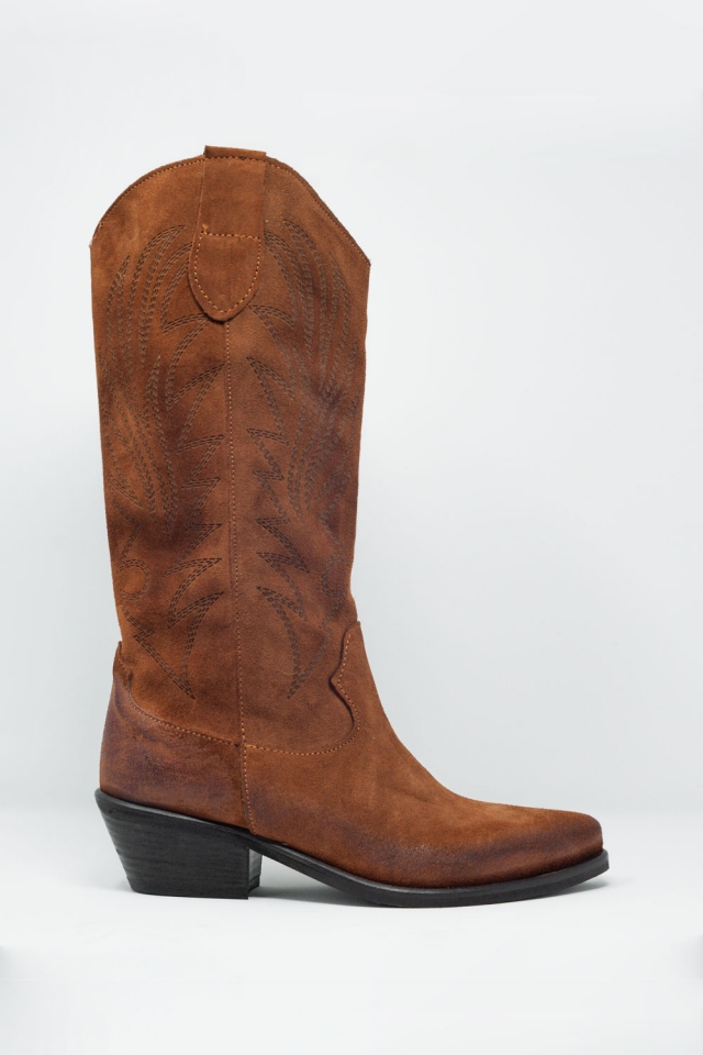 Bruine western hoge laarzen met printdetail