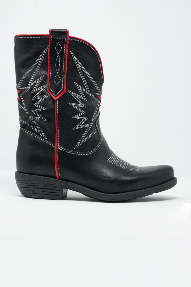 Schwarze und rote Western-Stiefel aus Leder
