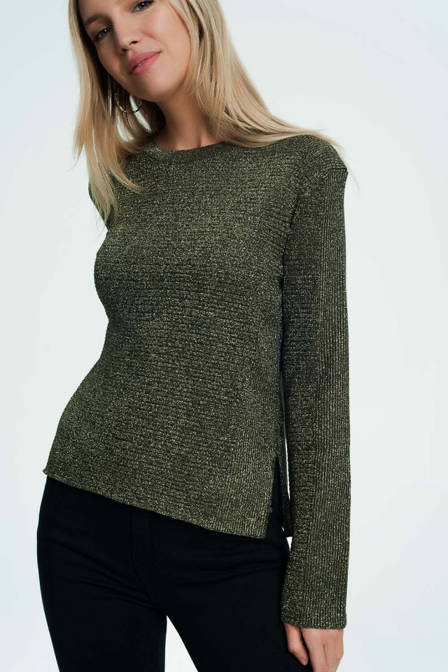 Khaki sweater with ribbed and knit detail
