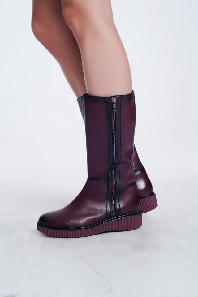 chunky zip boots in Maroon