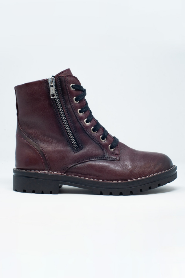 chunky military boots in maroon