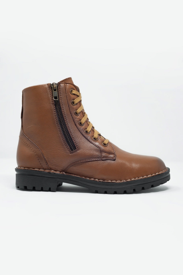 chunky military boots in brown