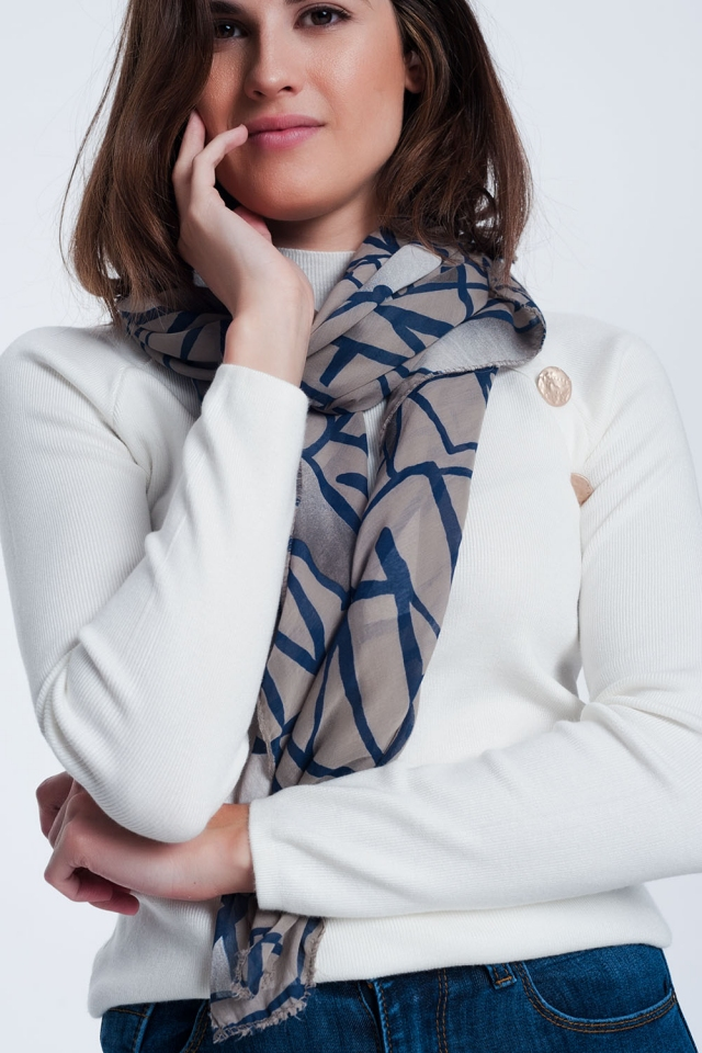 Brown scarf with abstract print
