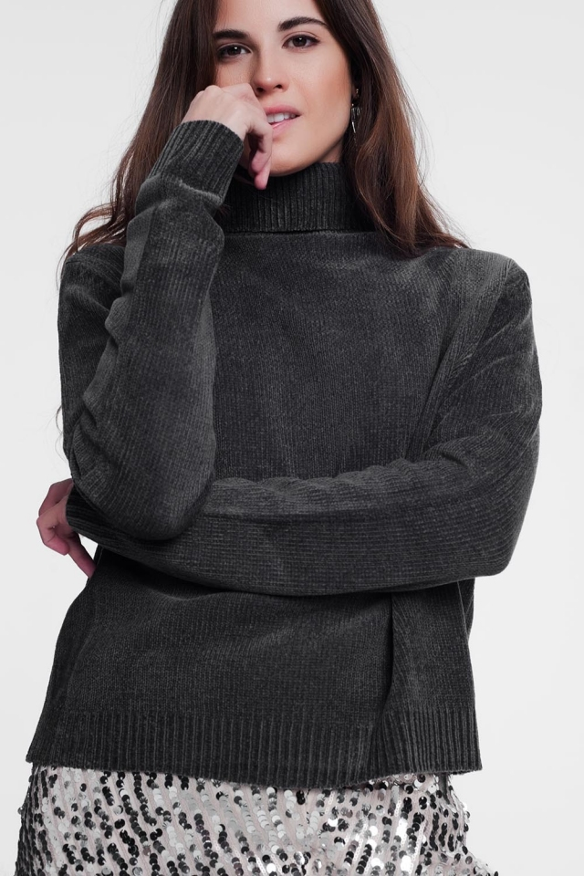 Gray turtleneck sweater with long sleeves