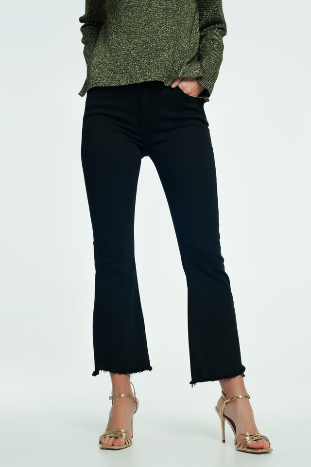 High rise raw hem flared jeans in black