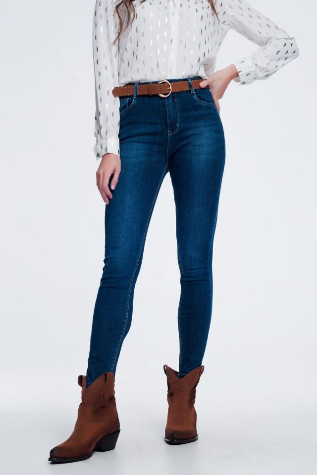 Blue dark wash jeans with high waist
