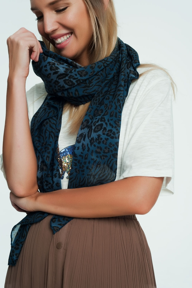 Blue scarf with leopard print