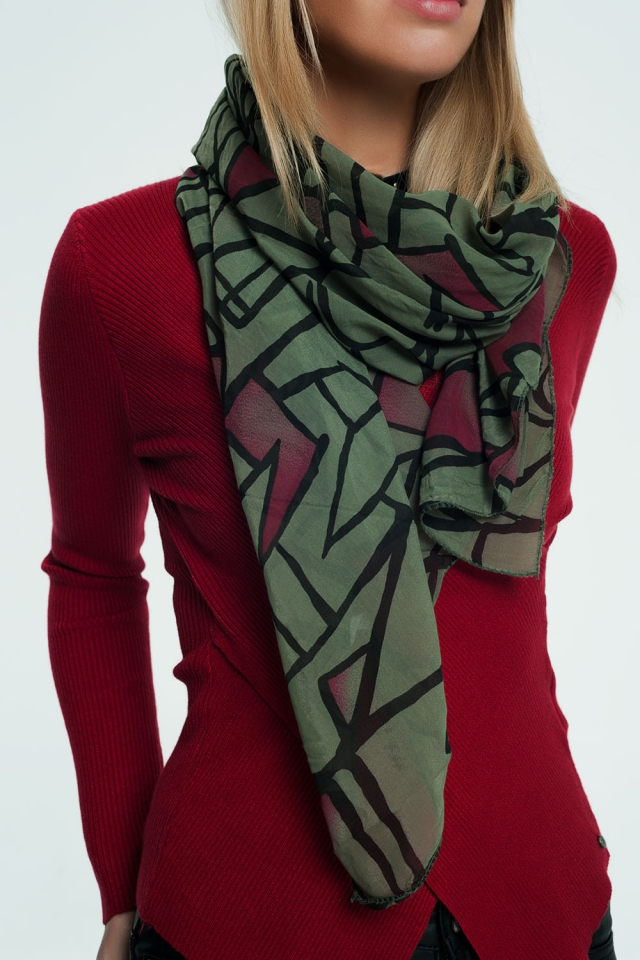 Green scarf with patterns