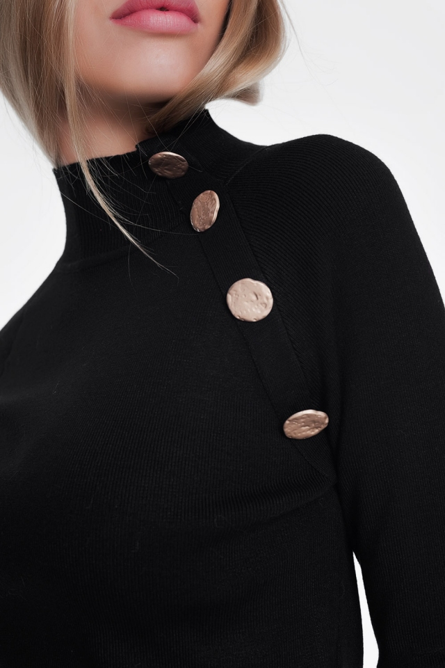 Sweatshirt with button detail in black