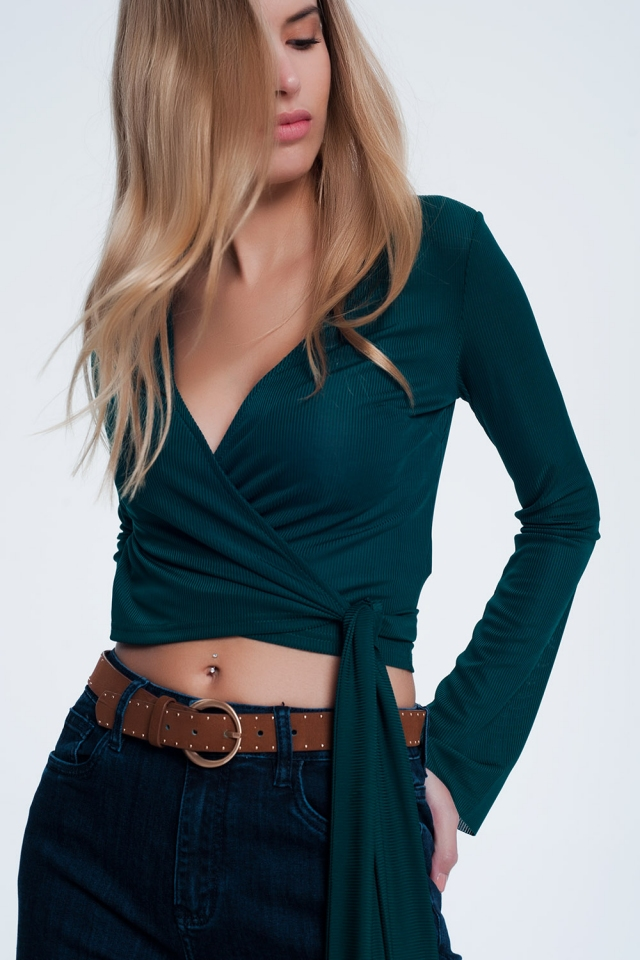 Green wrap top in rib with long sleeve