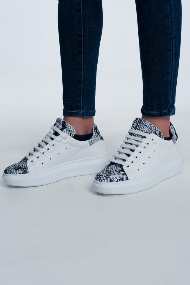 Sneakers met gemixte slangenprin